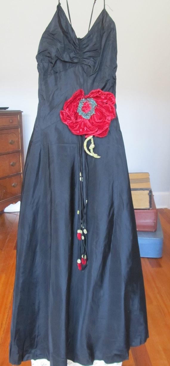 Vintage 1930's Black Taffeta Formal Dress with Spa