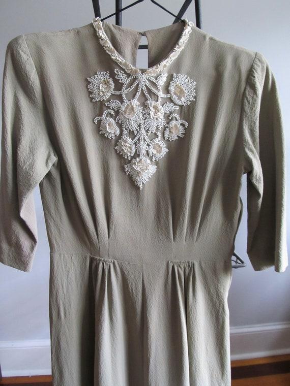 1930's Dress Late  Grey-Green Beautiful White Sequ
