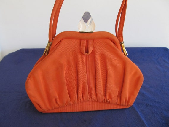 1930's Orange Handbag; 1930s Orange Purse; Faille