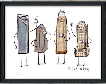Charlotte Skyline- art print- Coffee with Charlotte NC