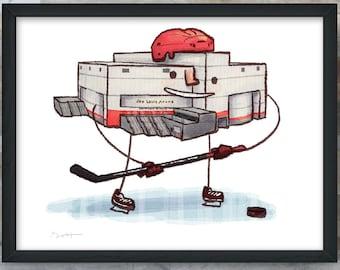 "Detroit ""The Joe"" hockey art print"