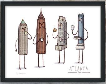 Atlanta Skyline- art print- Coffee with Atlanta