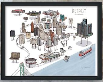 Detroit Skyline map art print.