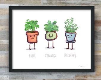 Kitchen Tiny Herbs art print- Basil, Cilantro, Rosemary