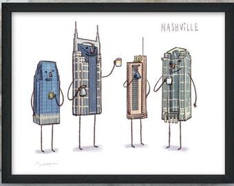 Nashville Skyline- art print- Coffee with Nashville TN