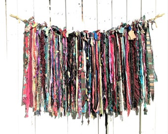 Bohemian Gypsy Multi-Colored Eclectic Garland|Shabby Hippie Chic Scrap Fabric Bunting|Photo Prop|Party|Bridal|Baby|Nursery|Home Decor