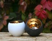 Gold Interior Teacup, Luxury Espresso Cup, Minimalist Teacup for Him