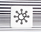 Minimalist Badge with Sun, Porcelain Badge with Sun, Forecast Symbol Badge
