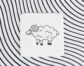 Ceramic Badge with Sheep, Lamb Brooch, Porcelain Pin with Lamb
