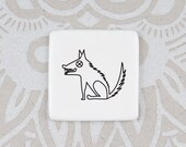 Funny Wolf Badge, Quirky Brooch with Wolf, White Porcelain Badge for Wildlife Lover
