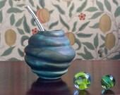 Green Mate Gourd 'Venus', Green Ceramic Mate Mug for Yerba Mate Lover