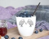 Ceramic Cup with Kiwi Birds, White Porcelain Mug Decorated with Kiwis , Funny Mug