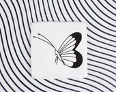 Porcelain Butterfly Brooch, Badge with Butterfly, Black Butterfly Pin