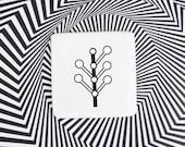 Small Badge with Tree, Botanical Pin Badge, Minimalist Ceramic Brooch, White Brooch