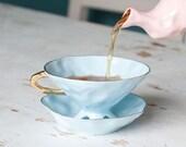 Baby Blue Porcelain Teacup, Alice in Wonderland Teacup, Quirky Teacup