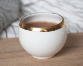 White Ceramic Teacup, Small Coffee Cup Decorated with Gold or Platinum, Porcelain Teacup