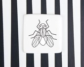 Funny Ceramic Badge with Fly, Porcelain Handmade Brooch, Funny Pin Badge