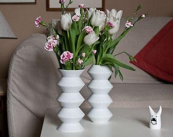 Geometric Flower Vases,  Porcelain Vases, White Ceramic Zig Zag Vases