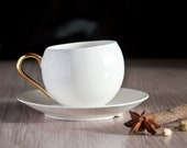 Modern Teacup with Gold or Platinum Handle, White Ceramic Coffee Cup, Minimalist Teacup