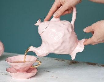 Pink Porcelain Teapot, Alice In Wonderland Teapot, Quartz Rose Whimsical Teapot