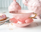 Alice in Wonderland Teacup Gold Rimmed, Quirky Teacup, Pink Coffee Cup, Wonky Teacup