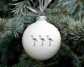 Flamingo Parade Christmas Bauble, Christmas Ornament with Flamingo, Funny Ornament