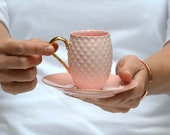 Pink Coffee Cup with Gold Handle, Pineapple Cup, Espresso Cup and Saucer, Porcelain Coffee Set