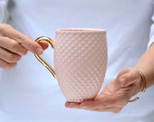 Pink Coffee Mug, Porcelain Coffee Mug with Pineapple Pattern, Ceramic Coffee Cup