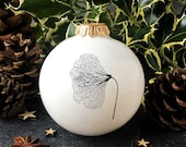 Big Christmas Ornament with Gingko Skeleton Leaf, White Christmas Tree Deroration, Minimalist Holiday Decor