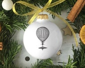 Christmas Bauble with Balloon, Big White Ornament with Balloon, Ceramic Christmas Decoration