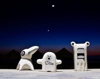 Funny Monsters Ceramic Figurines, Porcelain Figurines Set of three, Modern Kawaii Figurines