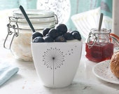 Porcelain Mug with Dandelion, Ceramic Cup with Dandelion, Yogurt pot, Milkshake cup