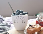 Ceramic Cup with Moose, Handmade Porcelain Coffee Mug with Funny Moose
