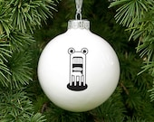 Funny Christmas Ornament with Monster, Quirky Christmas Bauble, White Ornament with Monster