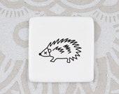 Handmade Brooch with Hedgehog, Hedgehog Badge, Ceramic Brooch with Hedgehog