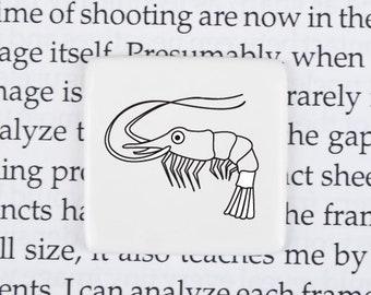 Brooch with Prawn, Funny  Shrimp Badge, Ceramic Pin with Shrimp