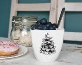 Pine Cone Cup, Ceramic Mug, Handmade Coffee Mug with Tree Cone Drawing