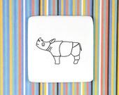 Ceramic Brooch with Rhino, Ceramic Brooch, Small Ceramic Badge