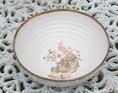 Ceramic Bowl with Peacock and Gold Rim, Decorative Porcelain Bowl, White Ribbed Bowl
