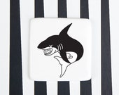 Funny Porcelain Brooch with Shark, Quirky Badge with Shark, Ceramic Brooch