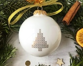 Big Christmas Bauble with Christmas Tree, Porcelain Christmas Ornament, Christmas Gift