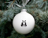 Christmas Bauble with Cute Panda Bear, Big White Christmas Ornament, Porcelain Bauble