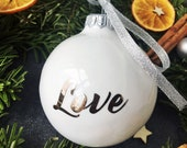 Minimalist Christmas Bauble with Love Script, Christmas Porcelain Ornament for Lovers, Christmas Gift