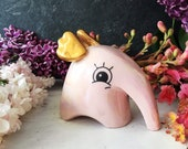 Cute Flying Elephant, Pink Elephant with Gold Wings, Quirky Pink Elephant