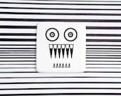 Psychodelic Monster Badge, Funny Ceramic Brooch with Dragon, Minimalist Dragon Badge