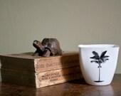 Palm Tree Cup, Holiday Beach Mug, Porcelain Juice Mug