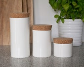 Minimalist Kitchen Containers, White Kitchen Jars, Customizable Storage Containers, White Ceramic Coffee, Tea, Sugar Containers
