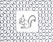 Funny Squirrel Badge, Quirky Brooch with Squirrel, White Porcelain Badge for Wildlife Lover