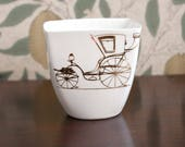 White Porcelain Yogurt Pot with Gold Carriage, Ceramic Mug, Baby Shower Gift