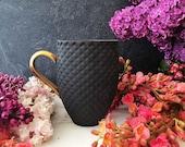 Black Textured Mug, Big Coffee Mug with Pineapple Pattern and Gold or Silver Handle, Black Ceramic Mug